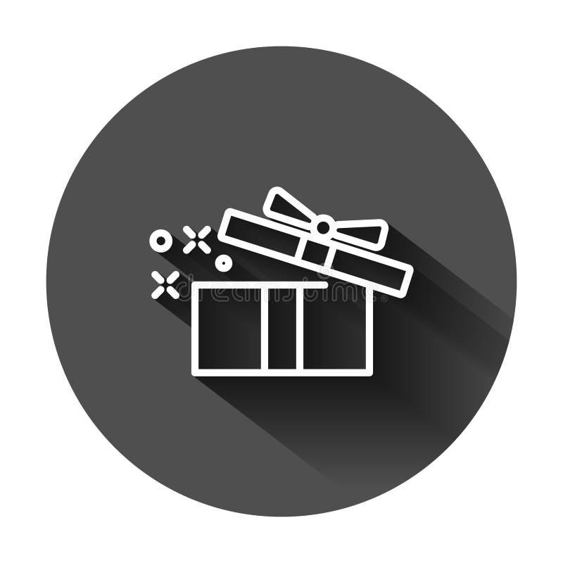 Geschenkboxikone in der flachen Art Magische Fallvektorillustration auf schwarzem rundem Hintergrund mit langem Schatten Anwesend lizenzfreie abbildung