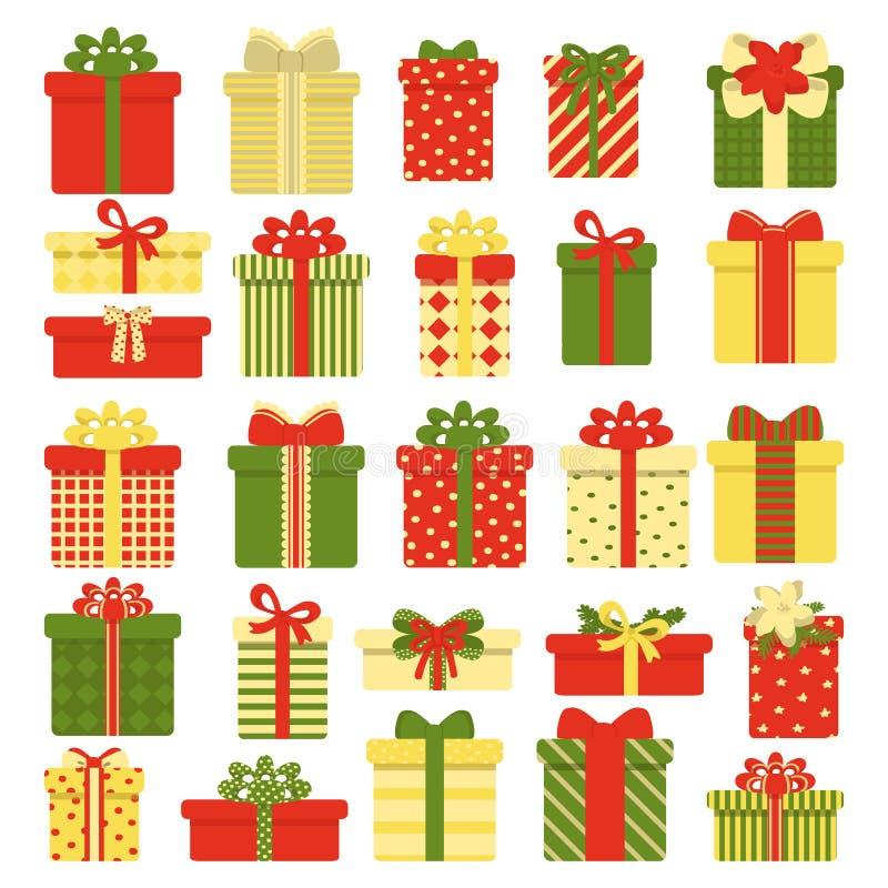 Geschenkboxsammlung lokalisiert auf wei?em Hintergrund Weihnachten- und neues Jahr ` s Dekor Vektorillustration in der Karikatur lizenzfreie abbildung