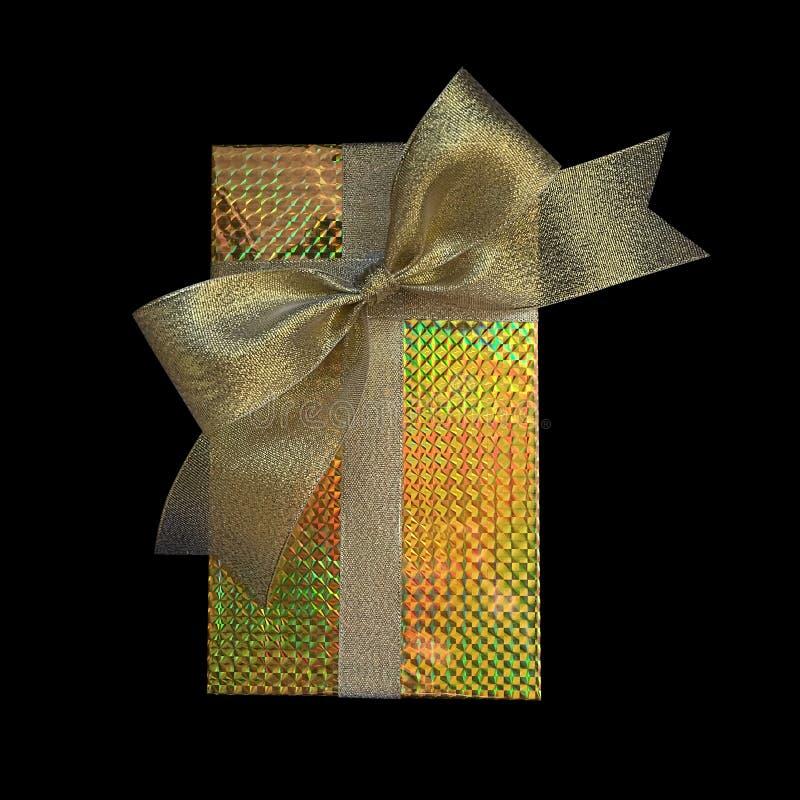 Geschenkboxverpackung und -band mit Goldfolien-Hologrammpackpapier lizenzfreies stockbild