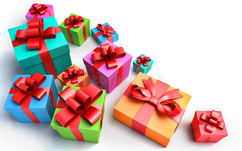 Geschenke auf weißem Hintergrund vektor abbildung