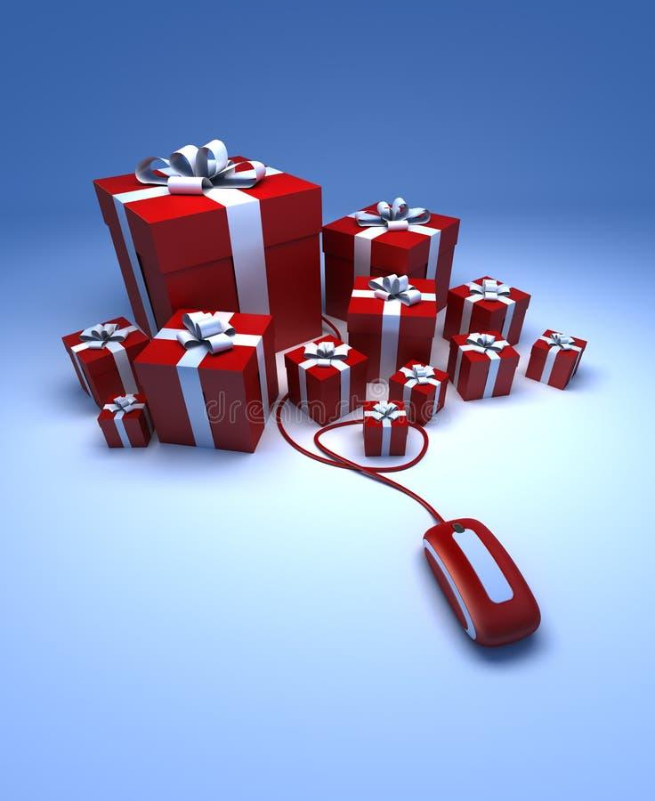 Geschenke online lizenzfreie abbildung
