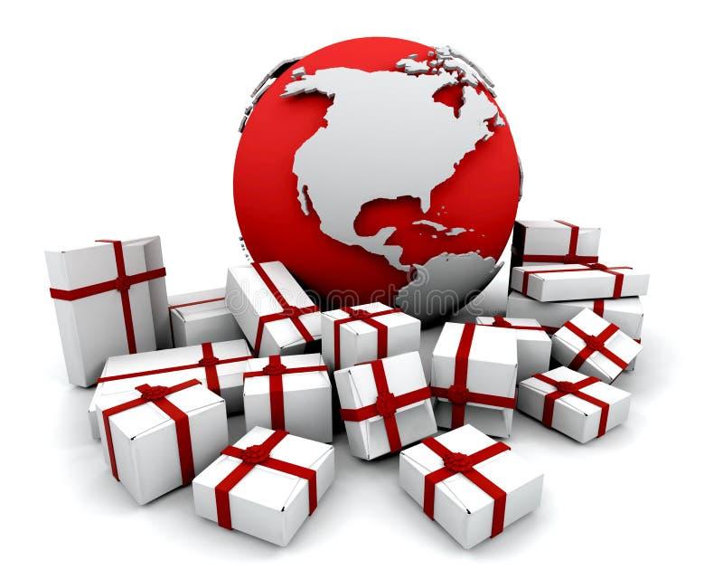 Geschenke um die Welt lizenzfreie abbildung