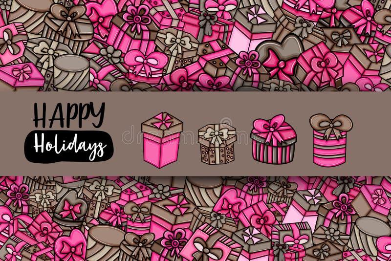 Geschenke und Geschenkboxkarikaturgekritzelhintergrunddesign lizenzfreie abbildung