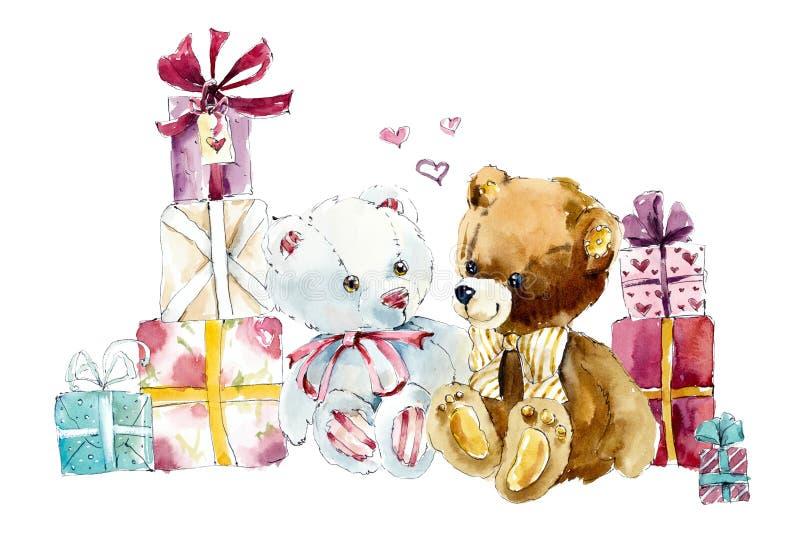 Geschenke und Teddybär Gezeichnete Illustration des Aquarells Hand vektor abbildung