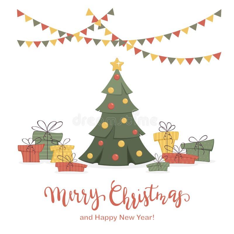 Geschenke und Weihnachtsbaum auf weißem Hintergrund lizenzfreie abbildung