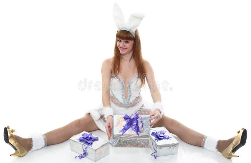Geschenke zu einem Hasen stockfoto