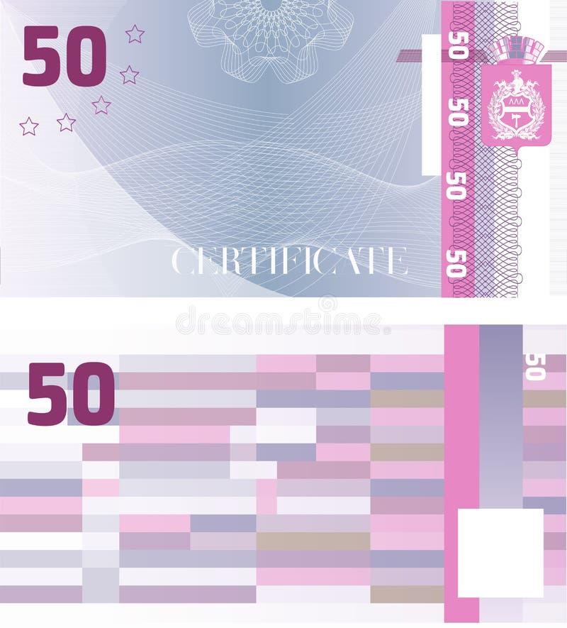 Geschenkgutschein-Belegschablone 50 mit Guillochemusterwasserzeichen und -grenze Hintergrund verwendbar für Kupon, Banknote, Geld stock abbildung