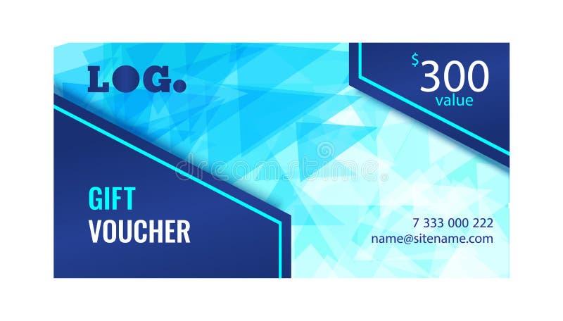 Geschenkgutschein helles Design mit hellblauem Hintergrund chaotisch bewegter Dreiecke stock abbildung