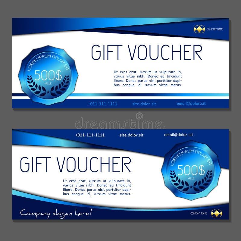 Geschenkgutschein Kupon- und Belegschablone für die Firma Unternehmens lizenzfreie abbildung