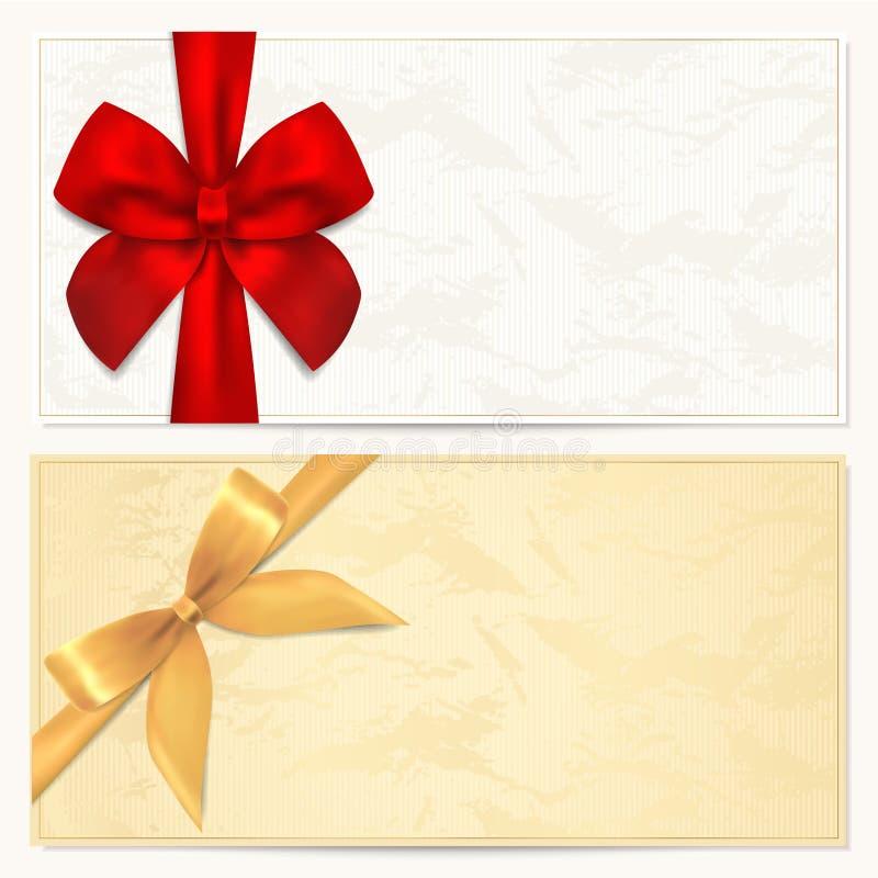 Geschenkgutschein-/Kuponschablone. Roter Bogen (Farbbänder) stock abbildung