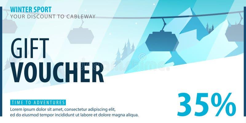 Geschenkgutschein mit diagonalen Linien und ein Platz für das Bild Universalfliegerschablone für die Werbung des Wintersports lizenzfreie abbildung