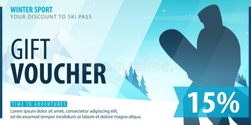 Geschenkgutschein mit diagonalen Linien und ein Platz für das Bild Universalfliegerschablone für die Werbung des Wintersports stock abbildung