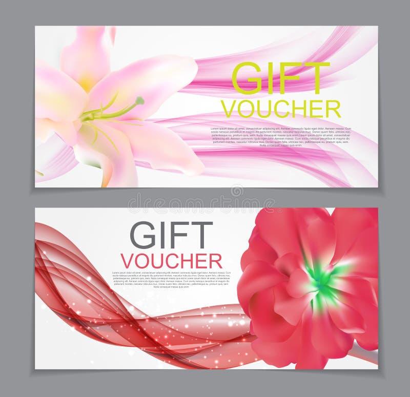 Geschenkgutschein-Schablonen-Blumen-natürlicher Rabatt-Kupon Vector Kranken lizenzfreie abbildung
