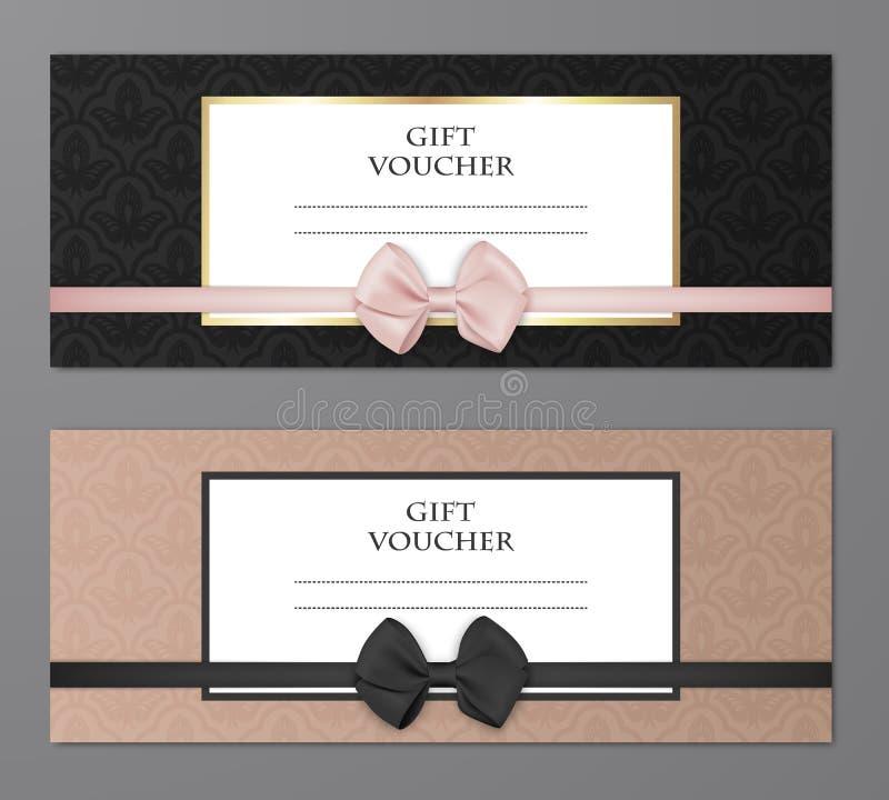 Geschenkgutschein-Schablonensatz des Vektors moderner mit Blumenmuster und schönem Bogen Geschenkkupon, Karte, Einladung stock abbildung