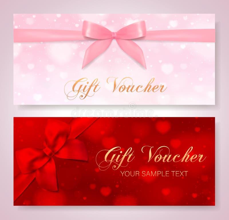 Geschenkgutschein, Zertifikat mit roten Herzen auf Hintergrund und Bogen, rosa Band stock abbildung
