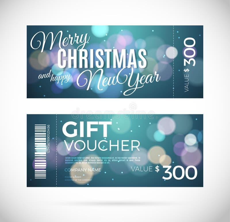 Geschenkgutscheindesign der frohen Weihnachten und des guten Rutsch ins Neue Jahr, vektor abbildung