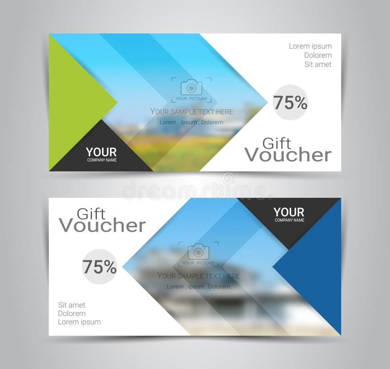 Geschenkgutscheinkarte oder Fahnennetzschablone mit unscharfem Hintergrund stock abbildung