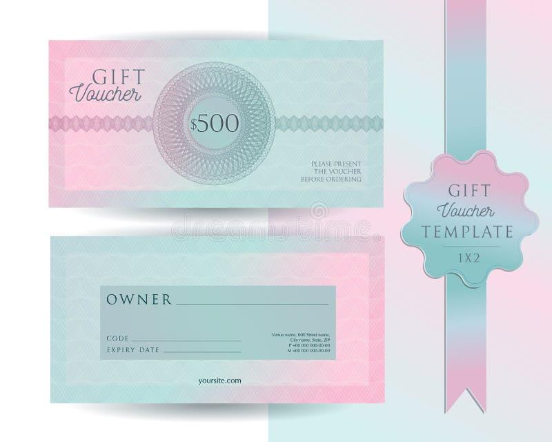 Geschenkgutscheinkartenschablone Moderner Zertifikatplan des Rabattes 500 mit Guillochewasserzeichenmuster Helle rosa Minze der M stockfoto