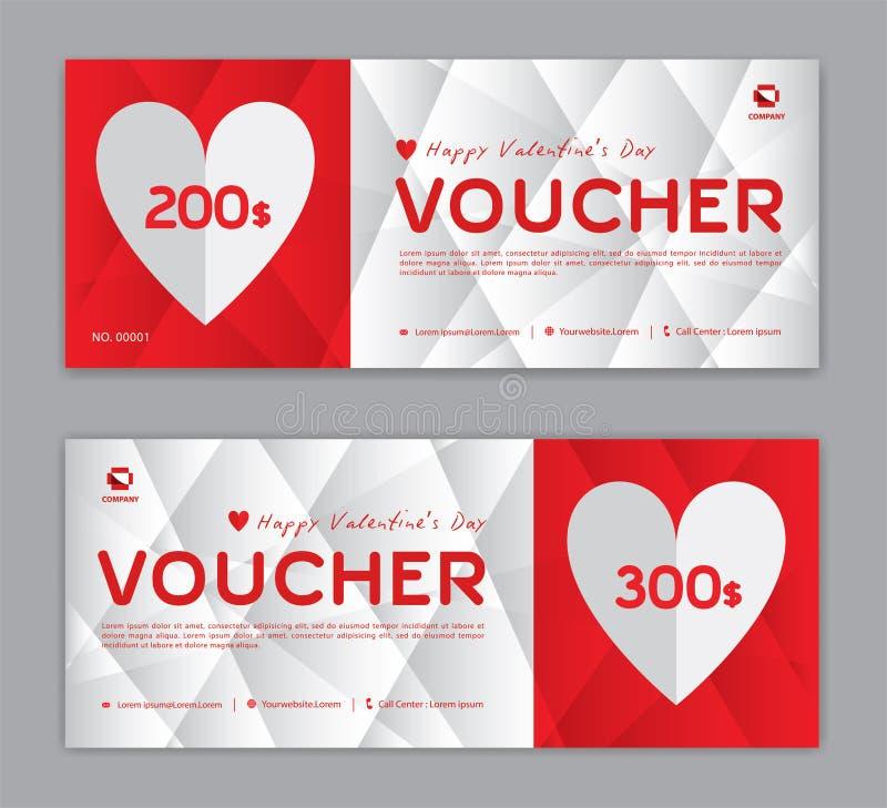 Geschenkgutscheinschablone, Kupon, Rabatt, für glücklichen Valentinstag, Verkaufsfahne, horizontale Gliederung, Rabattkarten, Tit vektor abbildung