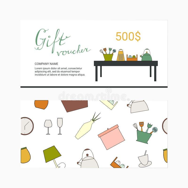 Geschenkgutscheinschablone mit Haushaltsgerätikonen stock abbildung
