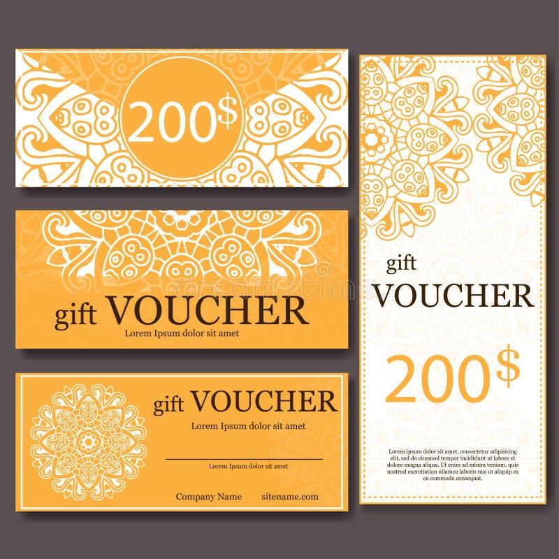Geschenkgutscheinschablone mit Mandala Entwerfen Sie Zertifikat für Sportzentrum, Zeitschrift oder usw. Vektorgeschenkkupon mit d vektor abbildung