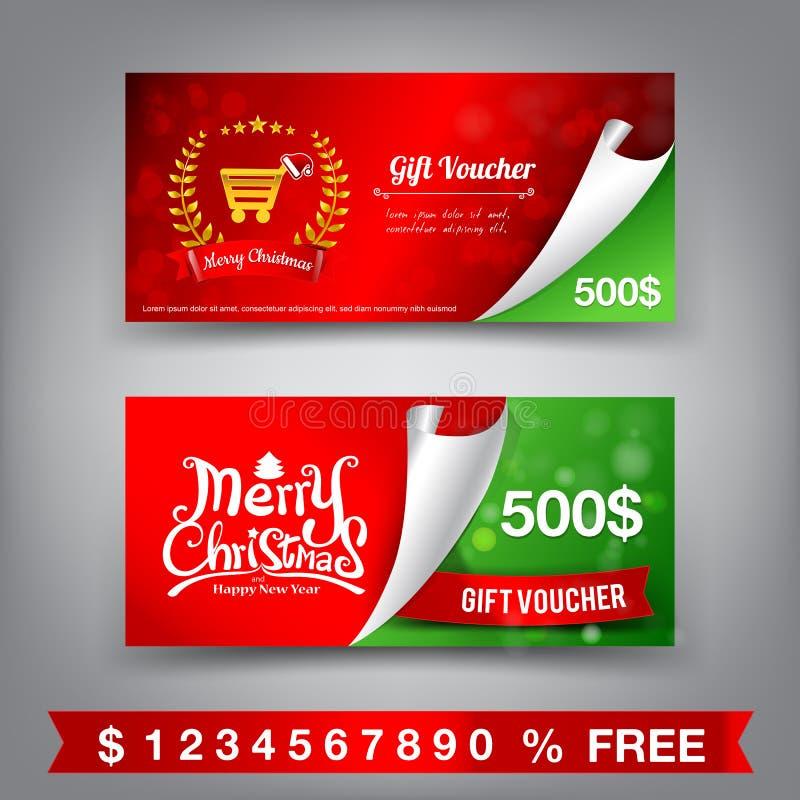 Geschenkgutscheinschablonen-Vektorillustration der frohen Weihnachten vektor abbildung