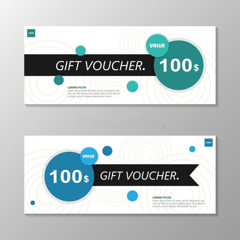 Geschenkgutscheinschablonenplan-Designsatz der Kreiseleganz grün-blauer, Zertifikatrabatt-Kuponmuster für den Einkauf vektor abbildung