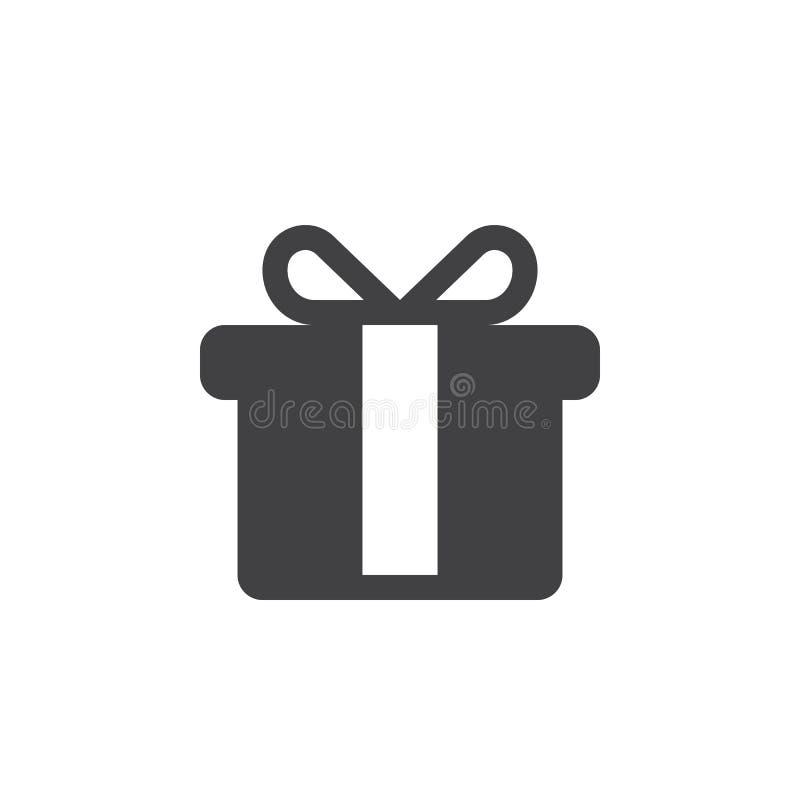 Geschenkikone, anwesende feste Logoillustration, Piktogramm-ISO stock abbildung