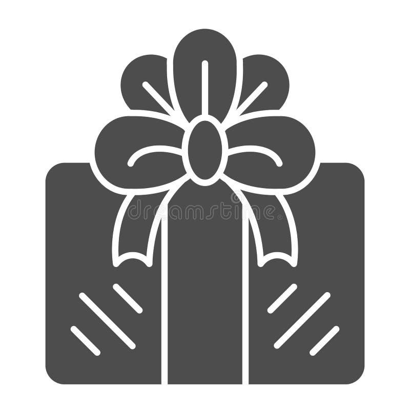 Geschenkkörperikone Anwesende Vektorillustration lokalisiert auf Weiß Geschenkbox Glyph-Artentwurf, bestimmt für Netz und App vektor abbildung