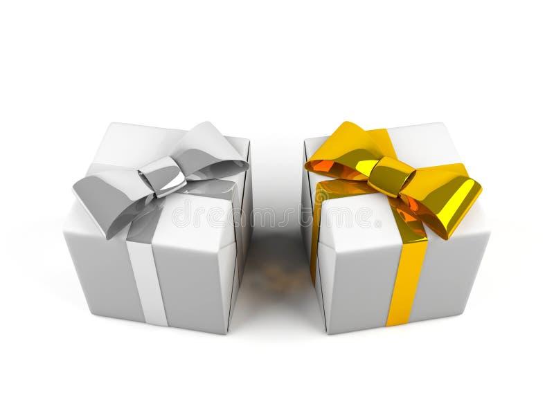 Geschenkkästen getrennt auf Weiß. vektor abbildung