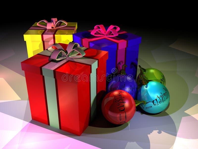 Geschenkkästen und christmass Kugeln lizenzfreie abbildung