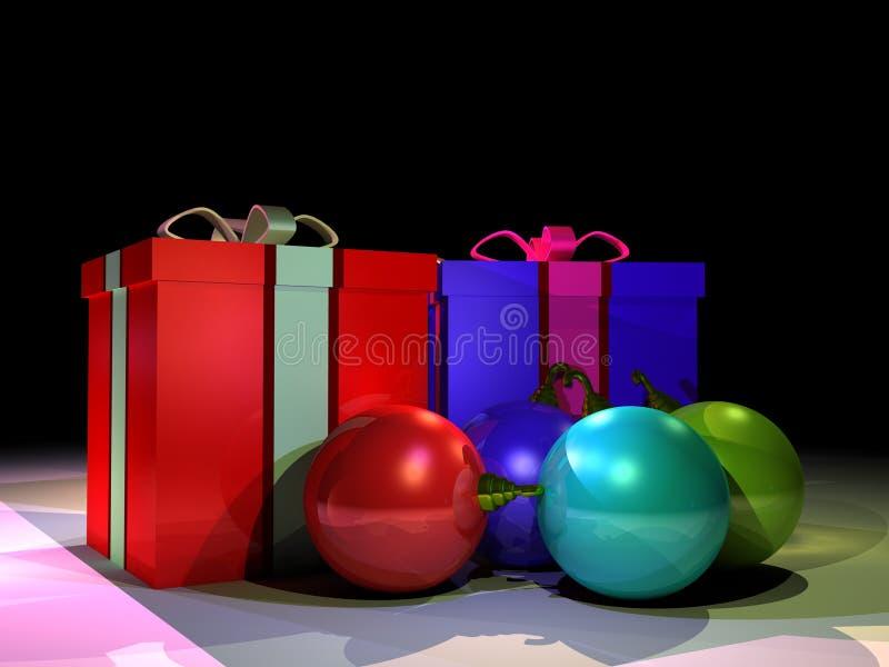 Geschenkkästen und christmass Kugeln stock abbildung