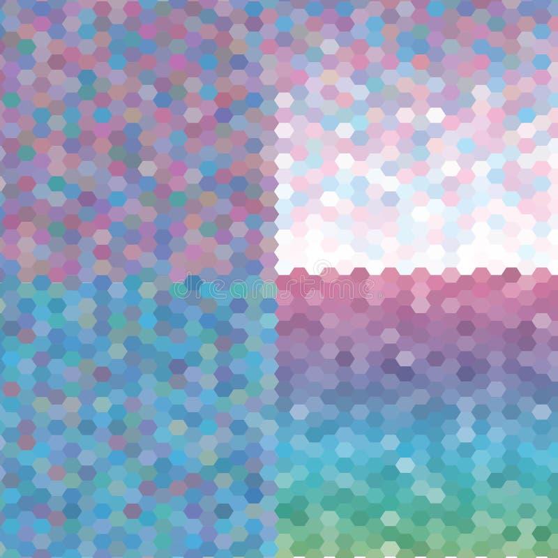 Geschenkkarte oder Rabattkartensatz mit bunter geometrischer dreieckiger Hintergrundschablone ENV 10 lizenzfreie abbildung