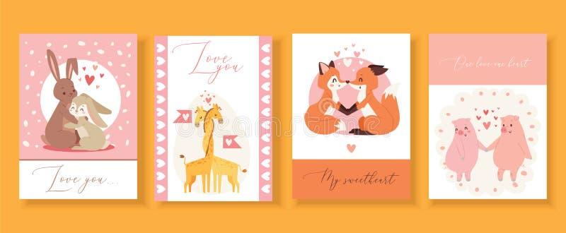 Geschenkkarten des Valentinsgrußes s Tagesmit netten Tieren in der Liebe, Karikaturkaninchen-, Fuchs-, Schwein- und Vogelvektoril stock abbildung