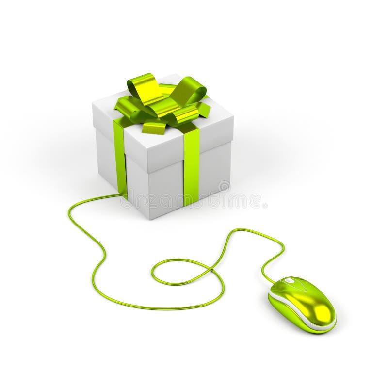 Geschenkkasten angeschlossen an eine Computermaus. lizenzfreie abbildung