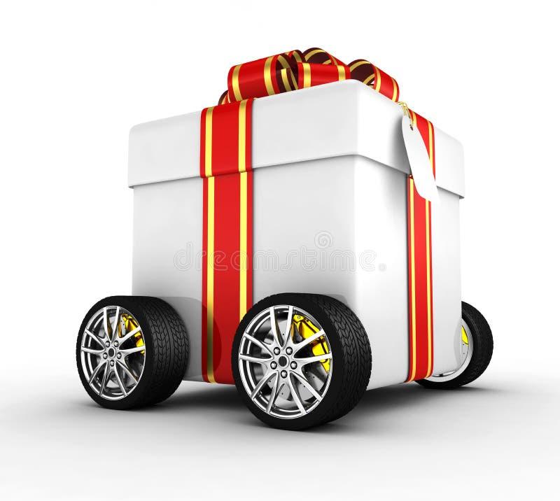 Geschenkkasten auf Rädern lizenzfreie abbildung