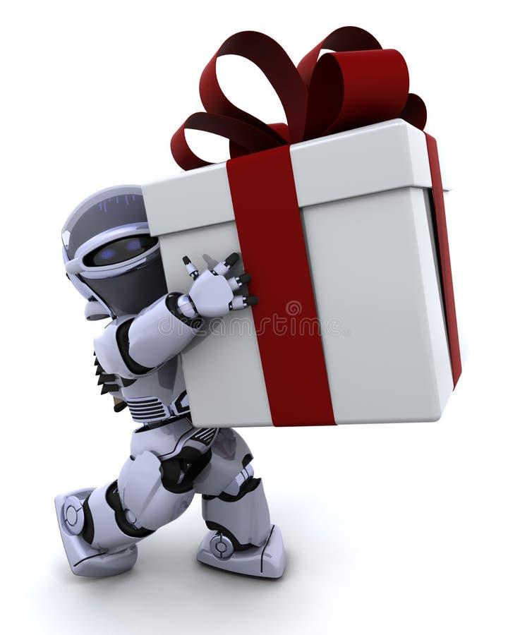 Geschenkkasten des Roboters tragender Weihnachtsmit Bogen stock abbildung