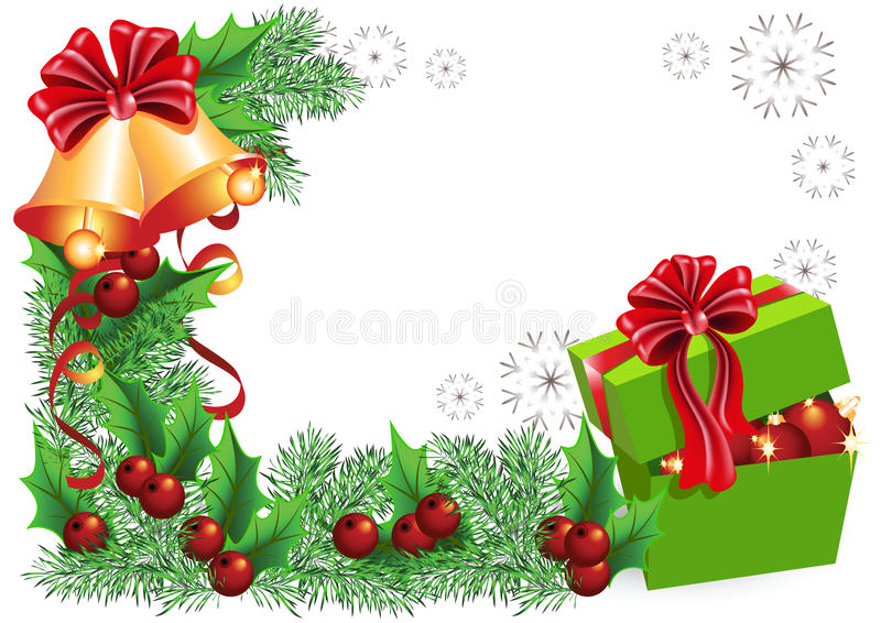 Geschenkkasten, Glocken mit roten Bögen lizenzfreie abbildung