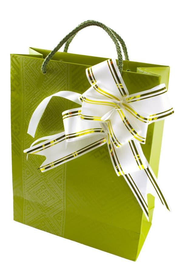Geschenkkasten mit dem Bogen getrennt auf Weiß lizenzfreies stockfoto
