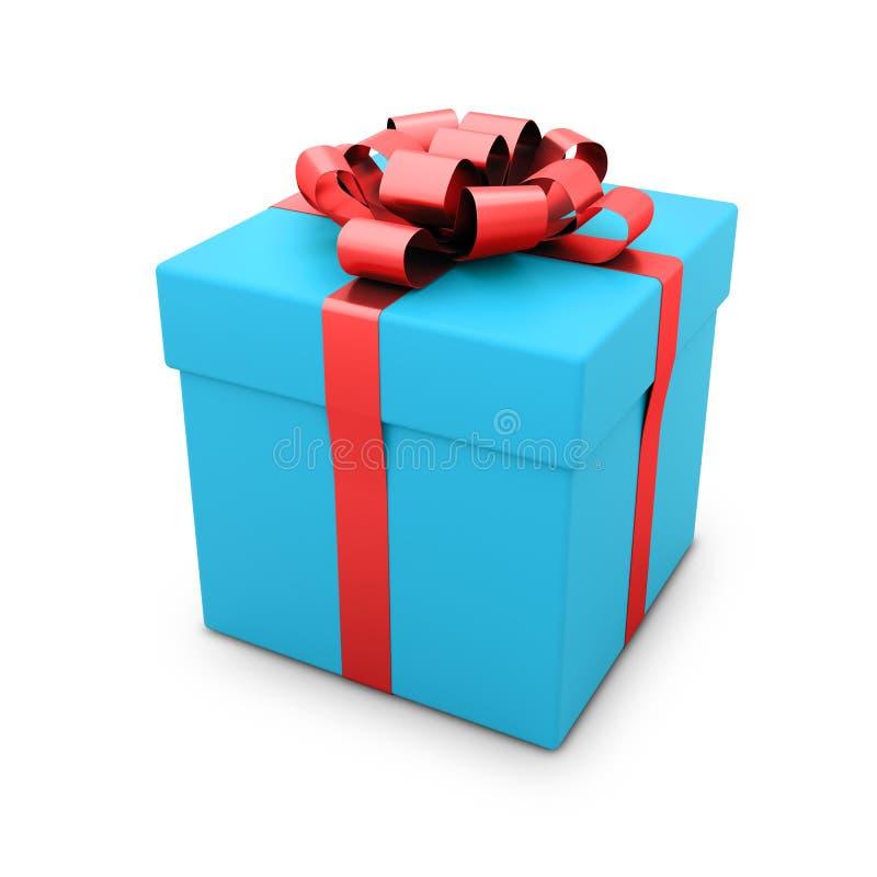 Geschenkkasten mit dem Farbband getrennt auf Weiß lizenzfreie abbildung