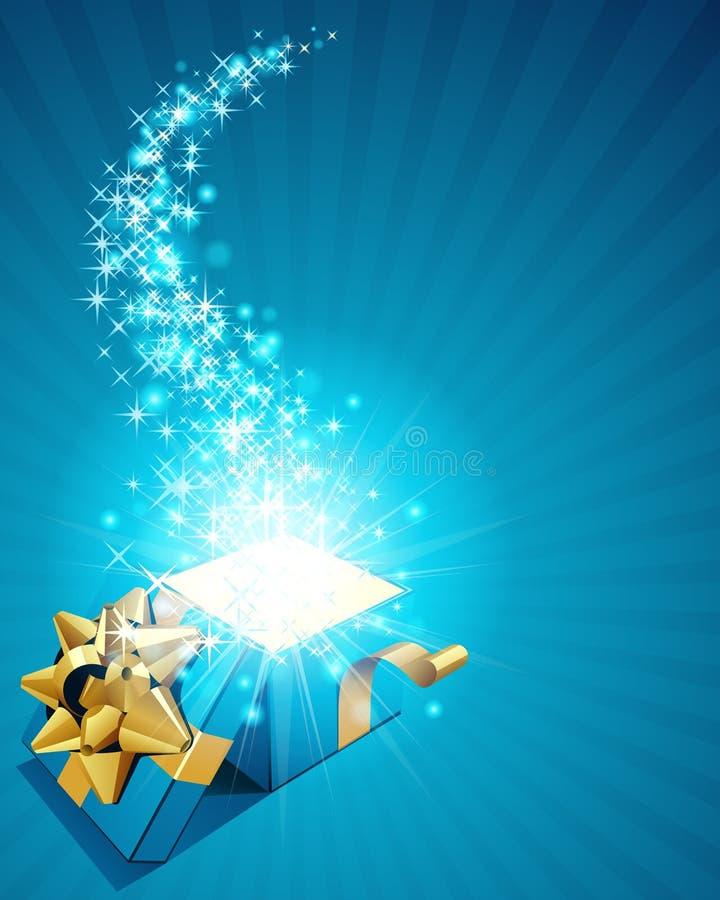 Geschenkkasten mit funkelnden Sternen stock abbildung