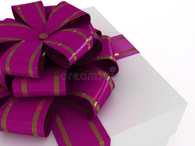 Geschenkkasten mit lila Bogen lizenzfreie abbildung