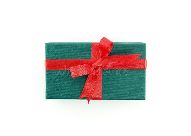 Geschenkkasten mit rotem Farbband stockbilder