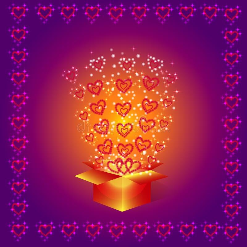 Geschenkkasten mit roten Inneren vektor abbildung