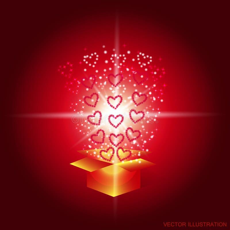 Geschenkkasten mit roten Inneren Magischer Hintergrund mit einer Überraschung Erfüllung von Wünschen Illustration in den roten Tö vektor abbildung