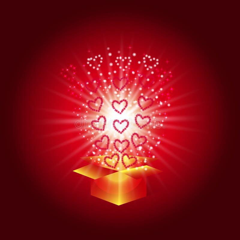 Geschenkkasten mit roten Inneren Magischer Hintergrund mit einer Überraschung Erfüllung von Wünschen Illustration in den roten Tö stock abbildung