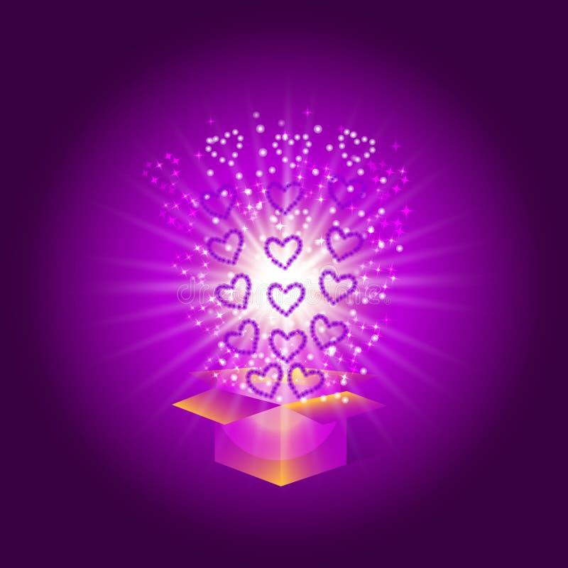 Geschenkkasten mit roten Inneren Magischer Hintergrund mit einer Überraschung Erfüllung von Wünschen Illustration in den violette lizenzfreie abbildung