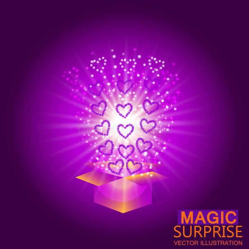 Geschenkkasten mit roten Inneren Magischer Hintergrund mit einer Überraschung Erfüllung von Wünschen Vektorillustration in den vi vektor abbildung