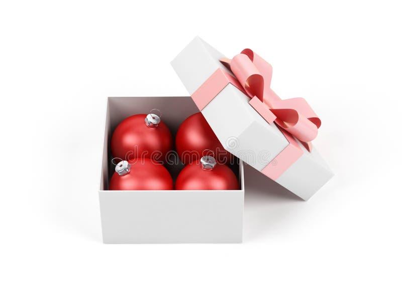 Geschenkkasten mit Weihnachtskugel. stock abbildung