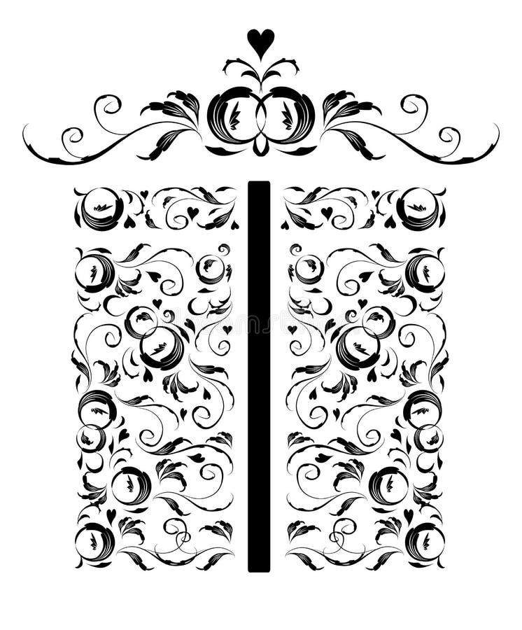 Geschenkkasten stilisiert, Blumenverzierungauslegung lizenzfreie abbildung